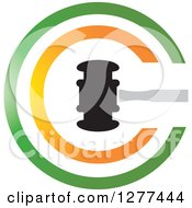 Clipart Of A Gavel In A Green And Orange Circle Royalty Free Vector Illustration
