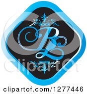 Clipart Of A Black And Blue Diamond Icon With Crowns And BL Letters Royalty Free Vector Illustration