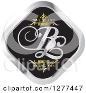 Clipart Of A Black And Silver Diamond Icon With Gold Crowns And BL Letters Royalty Free Vector Illustration