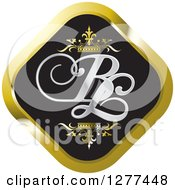 Clipart Of A Black And Gold Diamond Icon With Crowns And BL Letters Royalty Free Vector Illustration