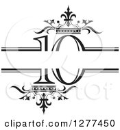 Clipart Of A Black And White Label With Luxury Crowns And Number 10 Royalty Free Vector Illustration