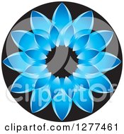 Clipart Of A Blue And Black Daisy Flower Icon Royalty Free Vector Illustration