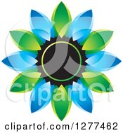 Clipart Of A Blue And Green Daisy Flower Icon Royalty Free Vector Illustration