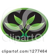 Clipart Of A Black And Green Oval Plant Icon Royalty Free Vector Illustration
