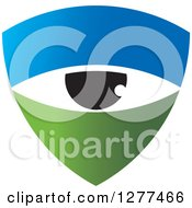 Clipart Of A Green And Blue Shield With An Eye Royalty Free Vector Illustration