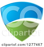 Clipart Of A Green And Blue Sky And Hill Shield With A White Swoosh Royalty Free Vector Illustration