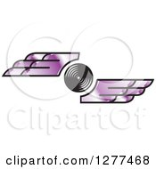 Clipart Of A Black And White Circle With Purple Wings Royalty Free Vector Illustration by Lal Perera