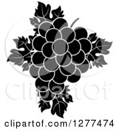 Clipart Of Black And White Grapes And Leaves Royalty Free Vector Illustration by Lal Perera