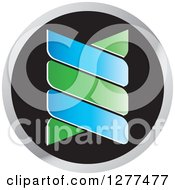 Clipart Of A Blue Green And Blu Double Helix Dna Icon Royalty Free Vector Illustration