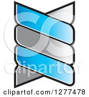 Clipart Of A Blue And Silver Double Helix Dna Design Royalty Free Vector Illustration