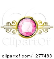 Clipart Of A Pink Gem Stone In A Gold Setting With Swirls Royalty Free Vector Illustration by Lal Perera