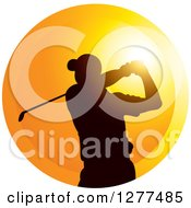 Clipart Of A Black Silhouetted Male Golfer Swinging Over A Sunset Circle Royalty Free Vector Illustration