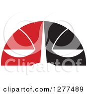 Clipart Of An Unhappy Abstract Scales Face In Black Red And White Royalty Free Vector Illustration by Lal Perera