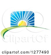 Clipart Of A Sunrise Over A Hill Swoosh Royalty Free Vector Illustration