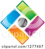 Clipart Of A Diamond Of Colorful Tiles And A Black Circle Royalty Free Vector Illustration by Lal Perera
