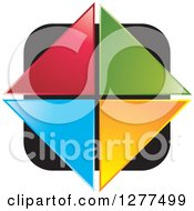 Clipart Of Colorful Triangles Forming A Diamond Over A Black Square Royalty Free Vector Illustration by Lal Perera