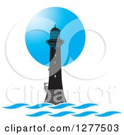 Clipart Of A Black Lighthouse Against A Blue Circle Royalty Free Vector Illustration by Lal Perera