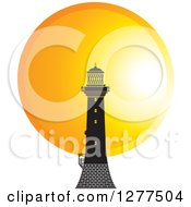 Clipart Of A Black Lighthouse Against A Sunset Circle Royalty Free Vector Illustration