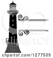 Clipart Of A Black And White Lighthouse And Swirl Text Box Royalty Free Vector Illustration by Lal Perera
