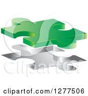 Clipart Of A 3d Green Puzzle Piece Floating Over An Opening Royalty Free Vector Illustration by Lal Perera