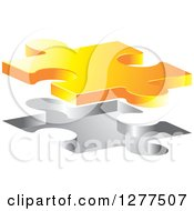 Clipart Of A 3d Yellow Puzzle Piece Floating Over An Opening Royalty Free Vector Illustration by Lal Perera
