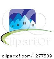 Clipart Of A Blue Houses Icon On A Green And Black Swoosh Royalty Free Vector Illustration by Lal Perera