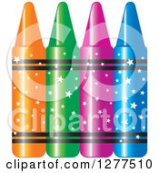 Clipart Of Colorful Crayons With Star Wrappers Royalty Free Vector Illustration by Lal Perera