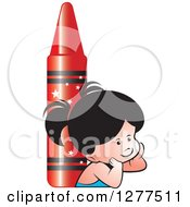 Clipart Of A Thinking School Girl And Giant Red Crayon Royalty Free Vector Illustration by Lal Perera