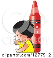Clipart Of A Thinking School Boy And A Giant Red Crayon Royalty Free Vector Illustration