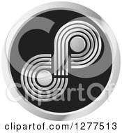 Clipart Of A Silver Infinity Symbol In A Round Icon Royalty Free Vector Illustration
