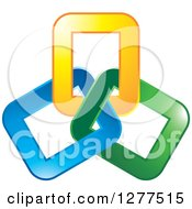 Clipart Of A Blue Green And Yellow Link Design Royalty Free Vector Illustration