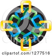 Clipart Of A Blue Green And Yellow Link Icon Royalty Free Vector Illustration