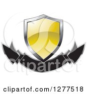 Clipart Of A Gradient Yellow And Silver Shield Over A Banner Royalty Free Vector Illustration by Lal Perera