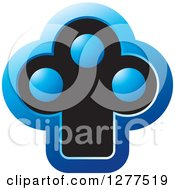 Clipart Of A Blue And Black Abstract Tree Icon Royalty Free Vector Illustration by Lal Perera