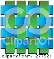 Clipart Of A Blue And Green Weave On White Royalty Free Vector Illustration