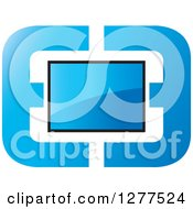 Clipart Of A Screen In An Abstract Blue Frame Royalty Free Vector Illustration