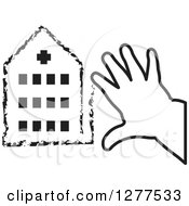 Clipart Of A Black And White Childs Hands Drawing A Hospital Royalty Free Vector Illustration