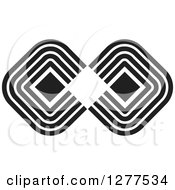Clipart Of A Black And White Diamond And Line Infinity Symbol Royalty Free Vector Illustration