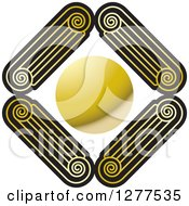 Clipart Of A Diamond Of Gold And Black Pillar Tops Around A Circle Royalty Free Vector Illustration