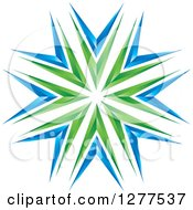 Clipart Of A Green And Blue Burst Royalty Free Vector Illustration
