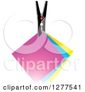 Clipart Of A Clip With Colorful Notes Royalty Free Vector Illustration