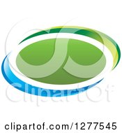 Clipart Of A Blue And Green Oval Icon Royalty Free Vector Illustration