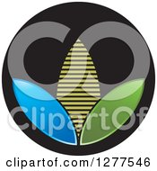 Clipart Of A Blue Green And Yellow Corn On A Black Icon Royalty Free Vector Illustration by Lal Perera