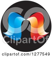 Clipart Of A Black Circle With Blue And Red Swooshes Royalty Free Vector Illustration