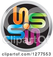 Clipart Of A Round Black And Silver Icon With Colorful Letter S Designs Royalty Free Vector Illustration by Lal Perera