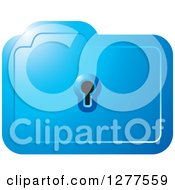 Clipart Of A Blue Folder With A Key Hole Royalty Free Vector Illustration by Lal Perera