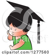 Clipart Of A Thinking School Boy Wearing A Hat Royalty Free Vector Illustration