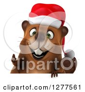 Clipart Of A 3d Christmas Beaver Holding A Thumb Up Over A Sign Royalty Free Illustration by Julos