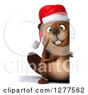 Clipart Of A 3d Full Length Christmas Beaver Pointing Around A Sign Royalty Free Illustration by Julos