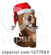 Clipart Of A 3d Christmas Beaver Holding A Thumb Up Around A Sign Royalty Free Illustration by Julos